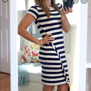 Navy and white striped fitted dress